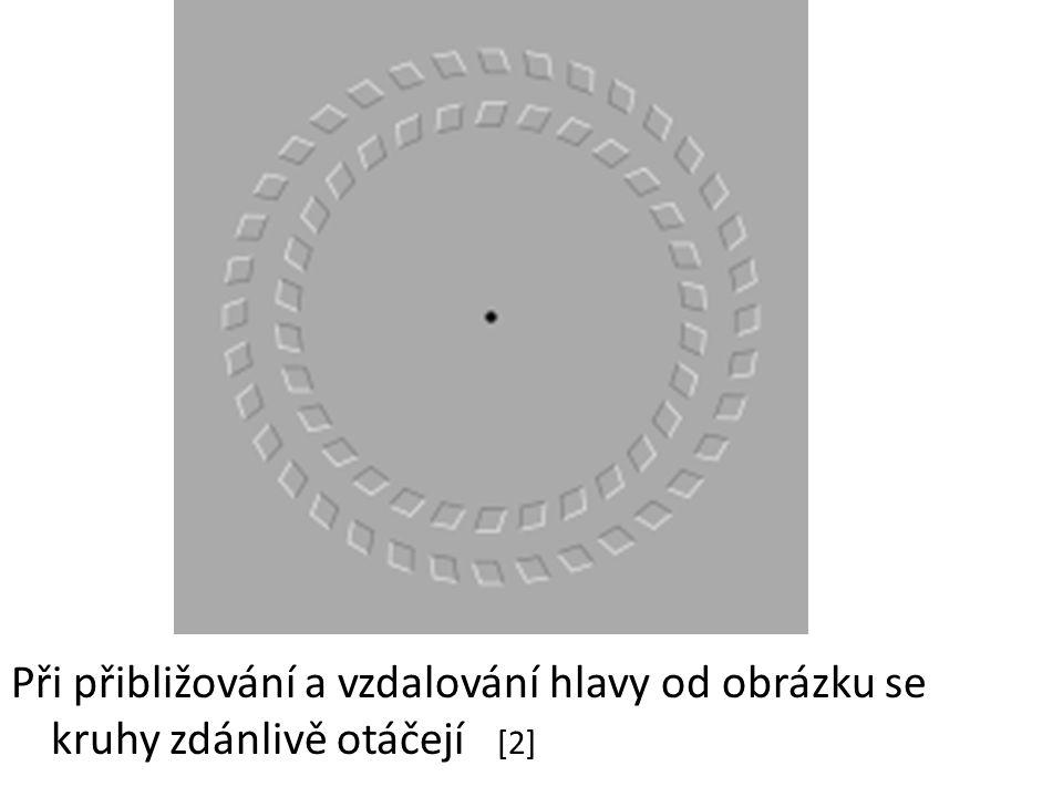Při přibližování a vzdalování hlavy od obrázku se kruhy zdánlivě otáčejí [2]